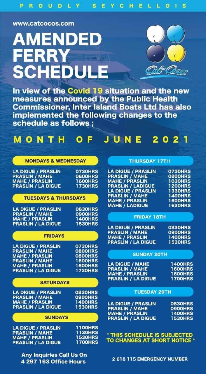לוח זמנים מעבורות איי סיישל בחודש יוני